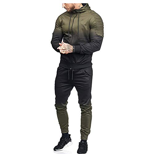 iLXHD Patchwork Zipper Sweatshirt Top Pants Sets Sports Suit Tracksuit(Z-Army Green,M)