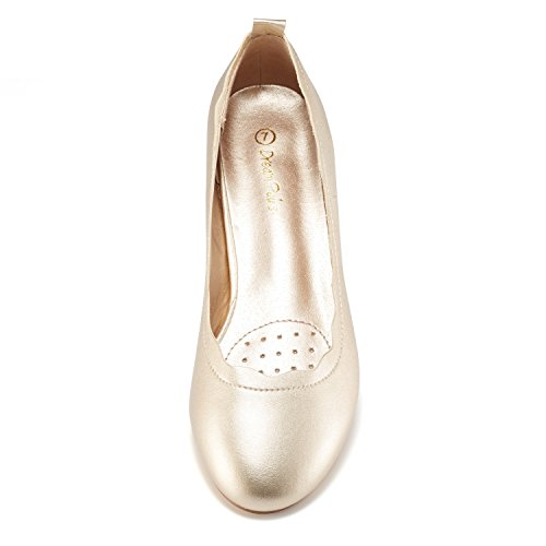 Women's Slip Gold Pu Stacked PAIRS On Low DREAM Fashion Shoes ELLE Sole Flats BPOx57q0w
