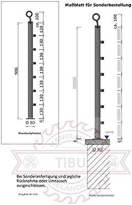 Zoternen Pasamanos Barandillas Acero Inoxidable para Balc/ón 115x102.5cm Barras de Rieles de Escaleras Anticorrosivo Three Cross Bar