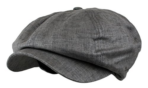 Men's Linen 8 Panel Applejack Gatsby Newsboy Ivy Hat (Grey) -