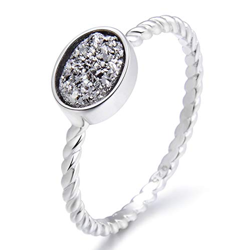 - Energy Stone Oval Druse Sterling Silver Cable Stacking Ring (Style# ST02) (Silver, 7)