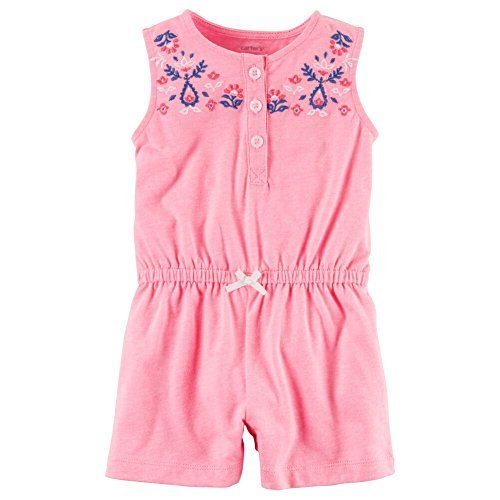 Carters Baby Clothing Outfit Girls Neon Floral Embroidered Romper, Pink, 18M