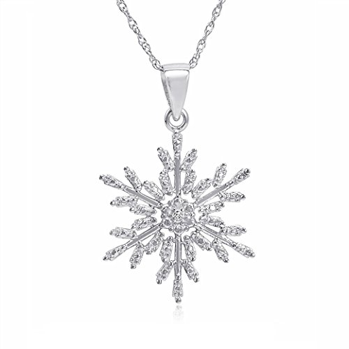 Diamond Accent Snowflake Pendant-Necklace in Sterling Silver -