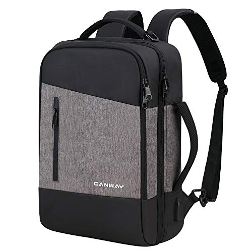 Canway Travel Laptop Backpack for Men/Women, Business Anti Theft Slim Durable Backpack with USB Charging Port, 3 in 1…