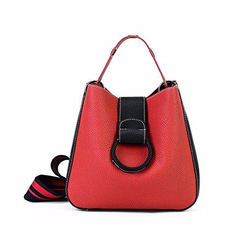 Shoulder Bag Slung Ladies Color Gules Bucket Mixed Fashion Bag qUBwEp55x