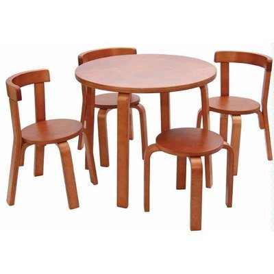 Kids Table and Chair Set - Svan Play with Me Toddler Table Set with 3 Chairs and Stool - 100% Wood (Cherry Round Desk)