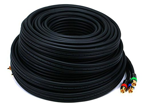 (Monoprice 103053 75-Feet 18AWG CL2 Premium 3-RCA RG-6 Component Video Coaxial Cable - Black)