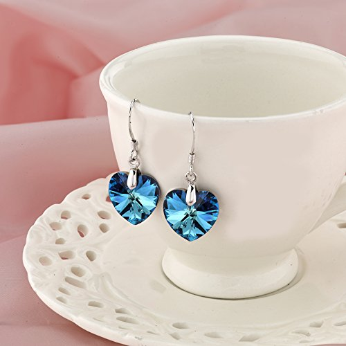 LUVAMI Swarovski Crystal Blue Heart White Gold Plated Drop Dangle French Hook Earrings by LUVAMI (Image #2)