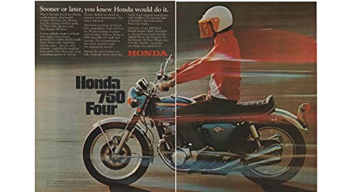 "Magazine Print Ad: 1969 Honda 750 Four Motorcycle,""Sooner or Later, You Knew Honda Would Do It"""