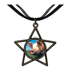 Chicforest Bronze Retro Style Piggy Face Five Pointed Star Pendant