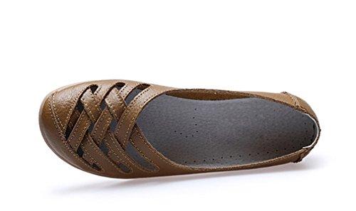 KEESKY Damen Leder Casual Ausgeschnitten Loafers Flache Slip-On Schuhe Braun