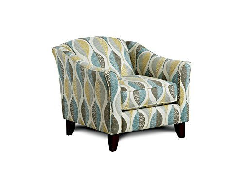 Furniture of America Gardena Leaf Accent Chair, Teal Print