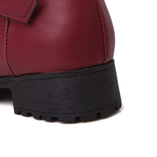 Low Closed Toe top AgooLar Low Boots Women's Solid Red Heels Round PU EqwU0wg