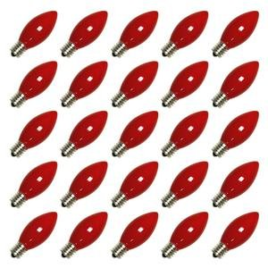 C9 Christmas Lights - Opaque Red - 7 Watt - Intermediate Base - 25 Pack