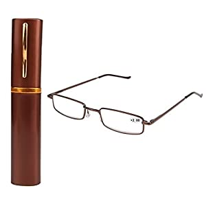 Wivily Straight Thin Stamped Metal Frame Reading Glasses With Tube Case (+2.0)