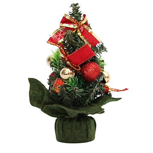 BinaryABC Tabletop Christmas Tree,Mini Artificial Christmas Tree with Ornaments, Christmas Decorations (Red)