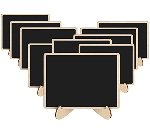 (Leyaron 10 Pack Mini Chalkboards Place Cards with Easel Stand - Wood Rectangle Small Chalkboard Signs for Wedding, Birthday Parties, Table Numbers, Food Signs and Special Event)