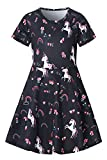 Toddler Girl's Dress Rainbow Unicorn Peace Face Print Pattern Short Sleeve Swing Skirt Kids Party Dress for Kids 4-5 Years