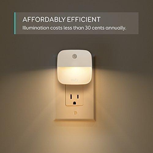 eufy Lumi Plug-In Night Light, Warm White LED Nightlight, Dusk-To-Dawn Sensor, Bedroom, Bathroom, Kitchen, Hallway, Stairs, Energy Efficient, Compact, 4-pack
