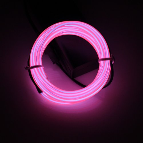 Lerway 5M/ 16.4FT Rope Neon Flexible Light Strip EL Wire Cable DIY Multicolor Cosplay Party Decoration (Pink Rope Light)