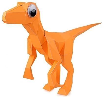 Buy Papercraft Dinosaur Puzzle Velociraptor In Orange By Kit Rex