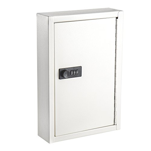 AdirOffice Secured 40 Key Cabinet with Combination Lock - Holds 40 Keys (White)
