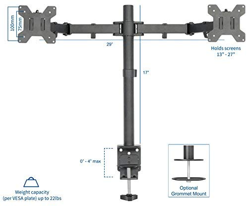 VIVO Dual LCD LED Monitor Desk Mount Stand with C-clamp and Bolt-through Grommet Options | Heavy Duty Fully Adjustable Arms hold Two (2) Screens up to 27'' (STAND-V002)