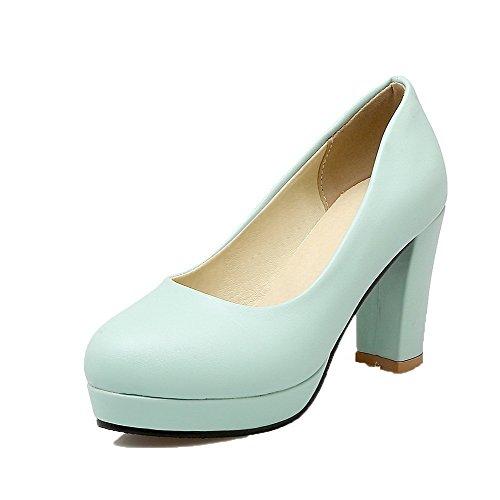 Kvinners on Voguezone009 toe Blå sko Runde Pu Hæler Solid Pull Pumper Høye d6wXxw4