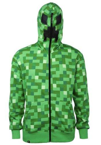 Minecraft Big Boys' Creeper Premium Zip-up Hoodie (Green, Small) (Minecraft Kids Hoodie)