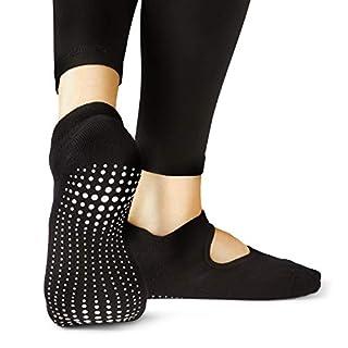 LA Active Grip Socks - 1 Pair - Yoga Pilates Barre Non Slip - Ballet (Noire Black, Medium)