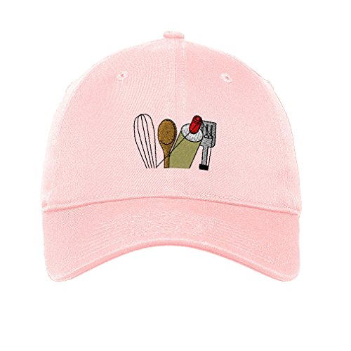 Speedy Pros Chef Cooking Topper Utensils Embroidery Unisex Adult Flat Solid Buckle Cotton 6 Panel Low Profile Hat Cap - Soft Pink, One Size