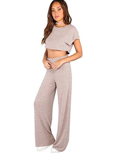 Verdusa Women's Sporty 2 Pieces Sets Loose Crop Top and Wide Leg Pants Blush L by Verdusa
