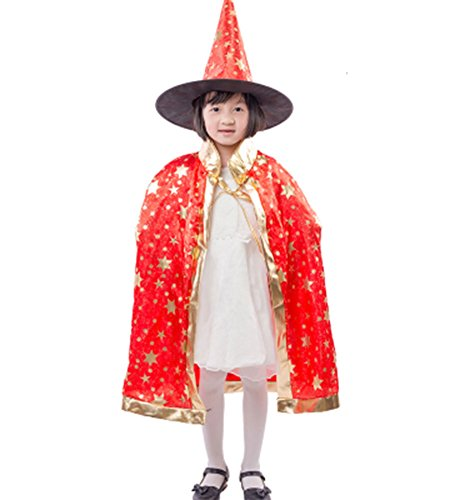 [JoinPro Children Halloween Dressing Set Kids Cosplay Costumes Wizard Witch Cloak Cape with Hat for Boys and Girs (Red)] (Gir Costume)