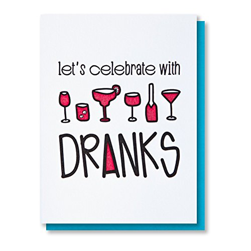 Funny Birthday Card | Alcohol Dranks | Bachelorette Congrats Letterpress Card | kiss and punch ()