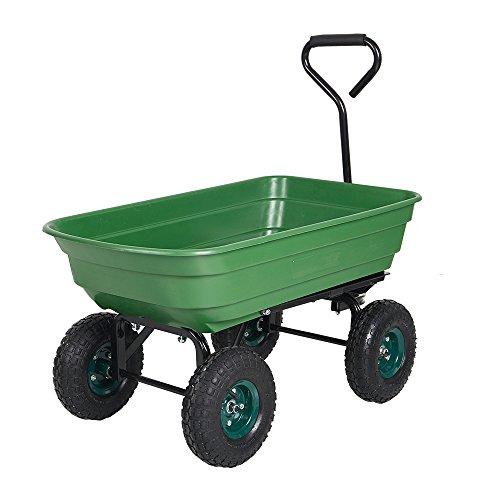 Livebest Heavy-Duty Wagon Carrier Garden Dump Cart Wheel Barrow Air Tires Sand Wagon with Handle and 10″ Big Wheel,550-Pound Capacity