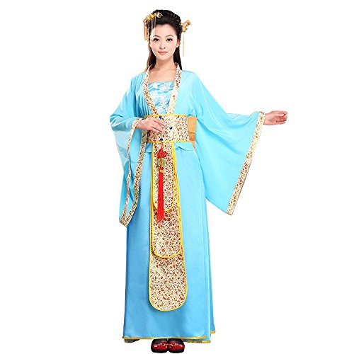 [Bysun chinese ancient women's stage Han Fu costume BlueL] (Han Chinese Costume)