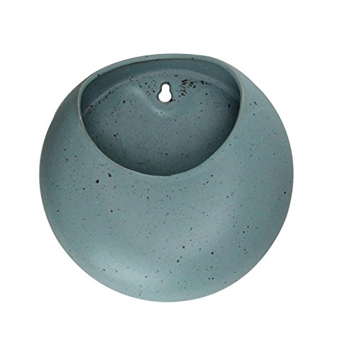 "UPC 715833472176, 8"" Large Blue Contemporary Decorative Ceramic Wall Pocket Planter"