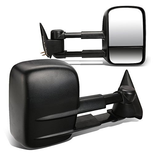 (For Chevy GMC C/K GMT400 Pair of Black Textured Telescoping Manual Extenable Side Towing Mirrors)