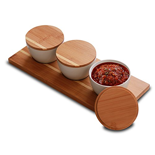 Everything Bamboo Salt & Salsa Caddy Condiment Organizer & Server with 3 Ceramic Containers for Serving and Storage (Storage Containers Bamboo)
