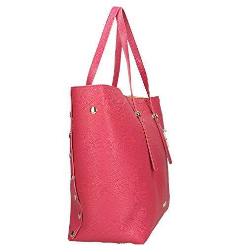 femme POP à Italy Dollar Made Fuchsia Impression Sac Cm véritable Bags 34x31x15 main en cuir in wwpHq