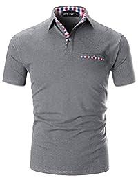 ba3db343e05d STTLZMC Polo Shirts for Men Short Sleeve Casual Fit Plaid Collar T-Shirts