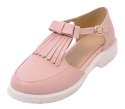 VogueZone009 Women Buckle PU Round-Toe Low-Heels Solid Sandals Pink