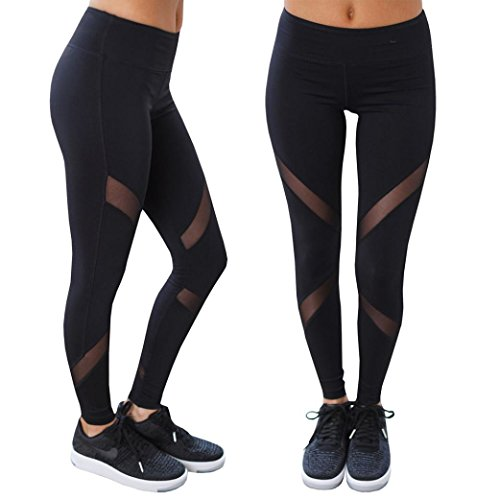 Slinky Halter Long Dress (Elevin(TM)2017 Women Mesh Yoga Pants Outdoor Gym Fitness Elastic Skinny Joggers Leggings (M, Black))
