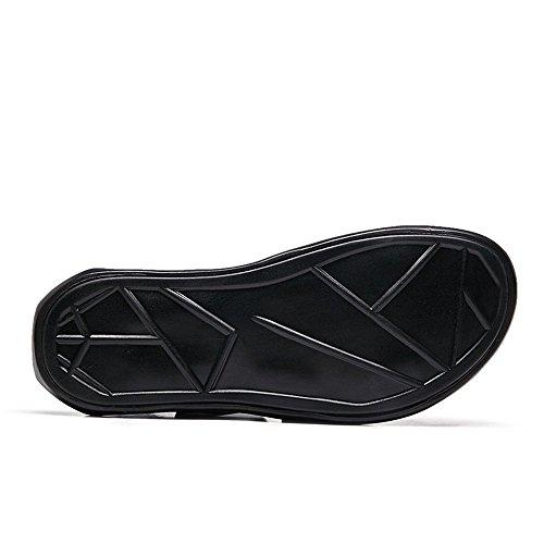 Correa Playa Vamp Hebilla Criss Sandalias Suave De Para Cuero Zapatos Negro Hombre Cross Suela Genuino 5XPwB