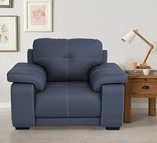 HomeTown Albury Solid Wood Single Seater Sofa in Grey Colour