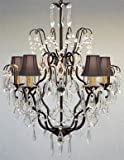 New! Wrought Iron & Crystal Chandelier With Black Shades! H27 x W21