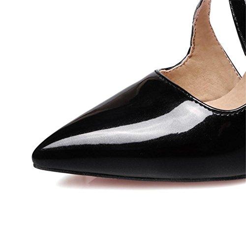 Boda Zapatos Nvxie Correa 3 Mujeres Del Zapatillas Dedo Strappy Puntiagudo Sandalias Estilete Corte Alto eur41uk758 uk Nupcial 35 Eur Pie Zapato Tobillo Zapatos Tacón Black wrrXfqU