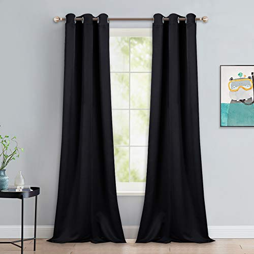 NICETOWN Black Out Curtain Panels - Home Decoration Thermal Insulated Solid Grommet Blackout Curtains/Drapes for Hall/Dining Room (Set of 2, 42 Inch by 90 Inch, Black)