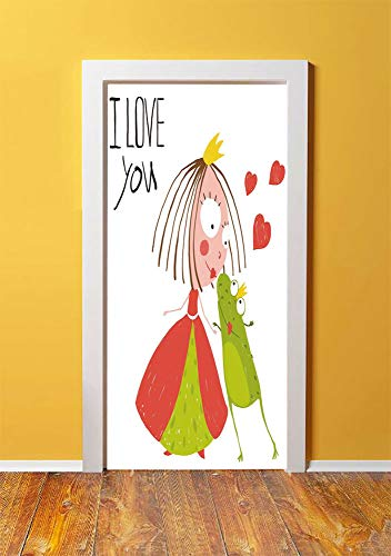 (Quirky Decor 3D Door Sticker Wall Decals Mural Wallpaper,Princess and Prince Frog Kissing Cute Fun Kids Love Story Romantic Hand Drawn Decorative,DIY Art Home Decor Poster Decoration)