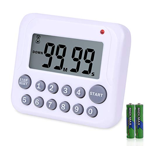 LightingHome Digital Kitchen Timer, Large Display Cooking Timer with Strong Magnet Back and Clip, Loud Alarm, Memory Function,Digits Directly Input,Count up& Count Down For Cooking Baking